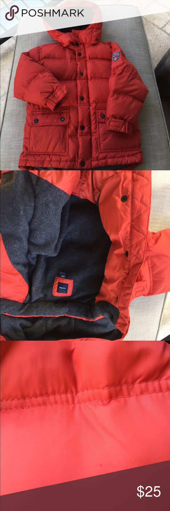 Gap Prima Loft Hooded Puffer Coat Baby Gap size 5 Orange Down Coat with detachable hood. Good used condition with some slight marks/blemishes (mostly on sleeves). See pics as I tried to capture them. Zipper and snap closure. Velcro adjustable Elastic sleeves. Charcoal grey fleece interior. Live in Houston so not worn too much. GAP Jackets & Coats Puffers