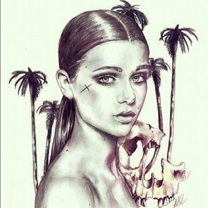 Illustration of @laurenericson_  reference photo by @amiemilne #illustration #fashionillustration #skulls #palmtrees #pencil #portrait