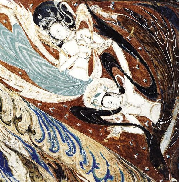 Dunhuang Mogao Cave 285, a flying apsarasa, Western Wei Dynasty