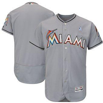 546342ed4 Miami Marlins Majestic 2018 Father s Day Flex Base Team Jersey – Gray