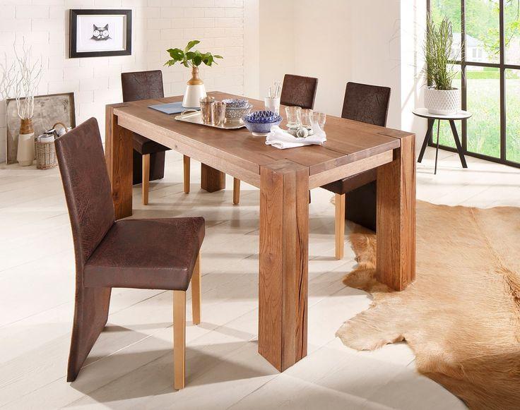 Details:  Mit Auszugsfunktion, Verlängerbar durch Ansteckplatten (zusätzlich bestellbar), Verlängerbar auf 240 cm, 4 cm starke Tischplatte, FSC®-zertifiziertes Massivholz, In verschiedenen Größen, Pflegeleichte Oberfläche, rechteckige Tischplatte, Das Holz ist wildeiche,  Maße:  (B/T/H) ca. 160/90/75 cm, (B/T/H) ca. 180/90/75 cm, (B/T/H) ca. 200/90/75 cm, (B/T/H) ca. 220/90/75 cm, 75 cm Tischhö...