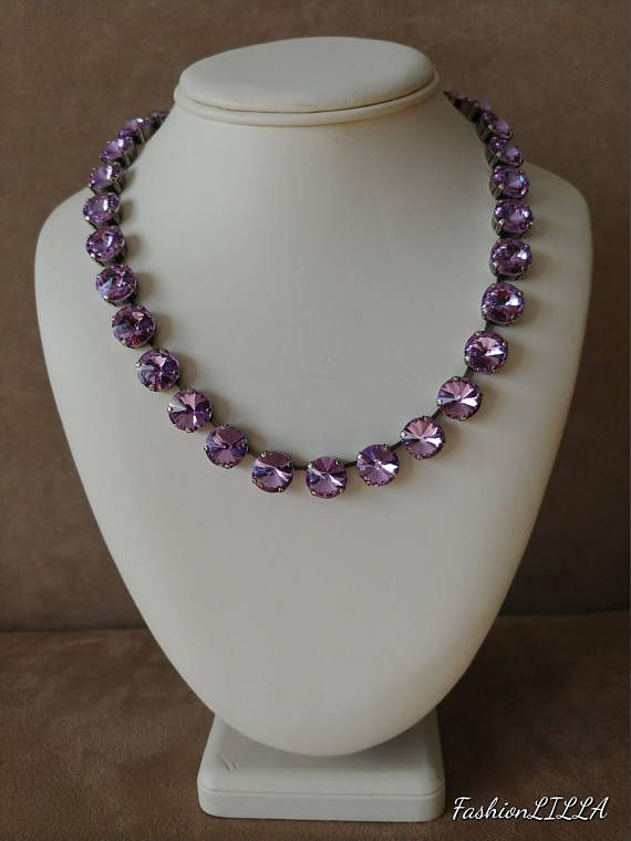 Check out this item in my Etsy shop https://www.etsy.com/ca/listing/587177841/violet-crystal-riviere-necklacelight