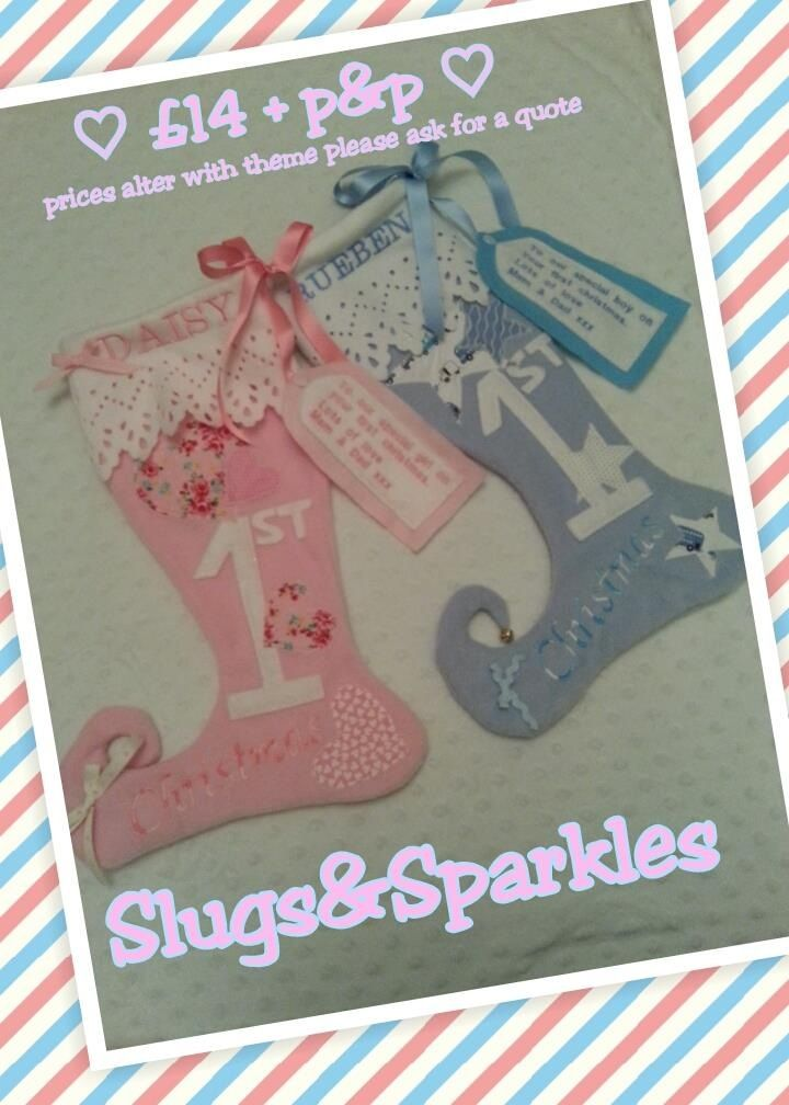 Twins handmade personalised Christmas stockings. All appliqués hand cut and sewn