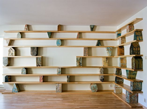 *SZA10* Bookshelf to any interior.  Project - free.  Cost of 1 meter the bookshelf is 375,-Euros.  In the picture: bookshelf (5 meters) costs 1850,- Euros.  EASY TO INSTALL.