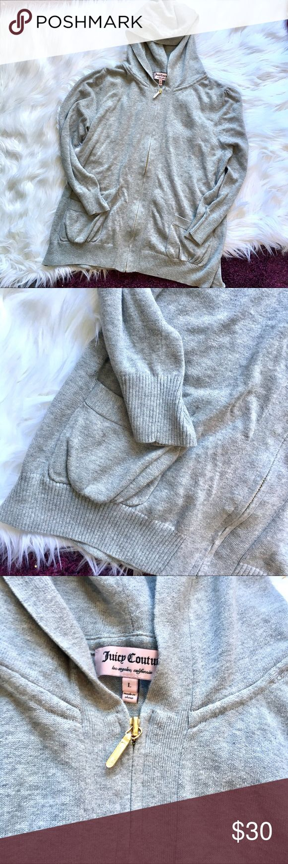 Juicy Couture Grey Zip Up Hoodie Great used condition. Minor flaw as shown in last photo. Cute drawstring touch to the back and cute detail to the shoulders. Juicy Couture Jackets & Coats