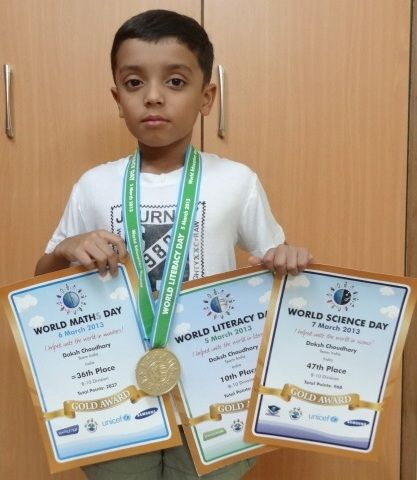 http://blog.worldeducationgames.com/ Hi everyone! I'm Daksh C from Rajmata Krishna Kumari Girls' Public School, Jodhpur, India. This year I got 10th Rank in World Literacy Day, 36th Rank in World Maths Day and 47th Rank in World Science Day in 8-10 age group. Huge thank you to the WEG Team for my gold medal and certificates!