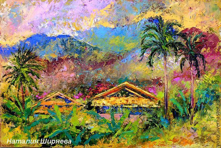 Купить или заказать 'Сияющий Таиланд' - картина маслом с горами в интернет-магазине на Ярмарке Мастеров. 'Сияющий Таиланд' - картина написана в городе Чиангмай, в Северном Таиланде. Чиангмай - Северная столица Таиланда, уникальное место силы, находящее в окружении мощной горной системы. Здесь же находится и высочайшая точка Таиланда - гора Дой Итанон. Я написала эту картину, вдохновленная этим уникальным и красивейшим местом Земли, его буйной тропической природой, его солнцем,...