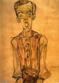 EGON SCHIELE  Nell'autoritratto che proponiamo,sono presenti nel contempo sia i temi classici dell'Espressionismo sia le straordinarie novità di Schiele.  Il volto con la bocca spalancata in un grido di dolore e d'angoscia presuppone evidentemente Munch #art #history #oil