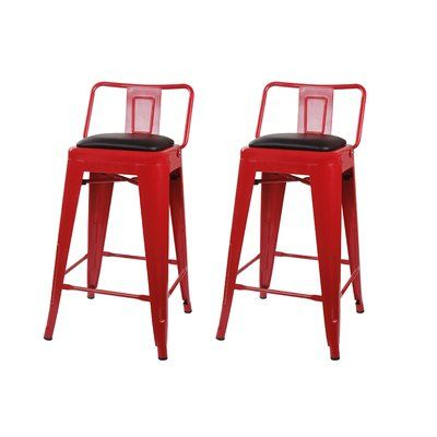 17 Stories Alric 24 Bar Stool Color Red Products Metal Bar