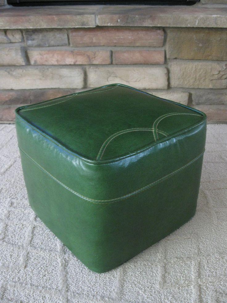 Mid Century Avocado Green Ottoman Footstool Hassock