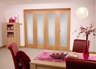 Glazed Oak P10 Roomfold - Frosted: Unfinished Internal Folding Door