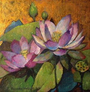 Lotus painting by Alexandra Kruglyak