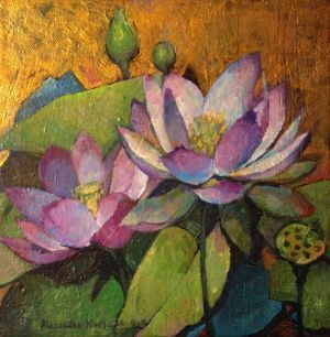 Lotus painting by Alexandra Kruglyak