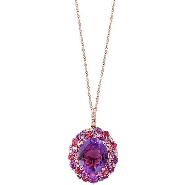Amethyst, Pink Tourmaline and Diamond Pendant Necklace in 14K Rose... ($2,965) ❤ liked on Polyvore featuring jewelry, necklaces, purple diamond necklace, purple necklace, pink tourmaline necklace, purple pendant necklace and amethyst necklace