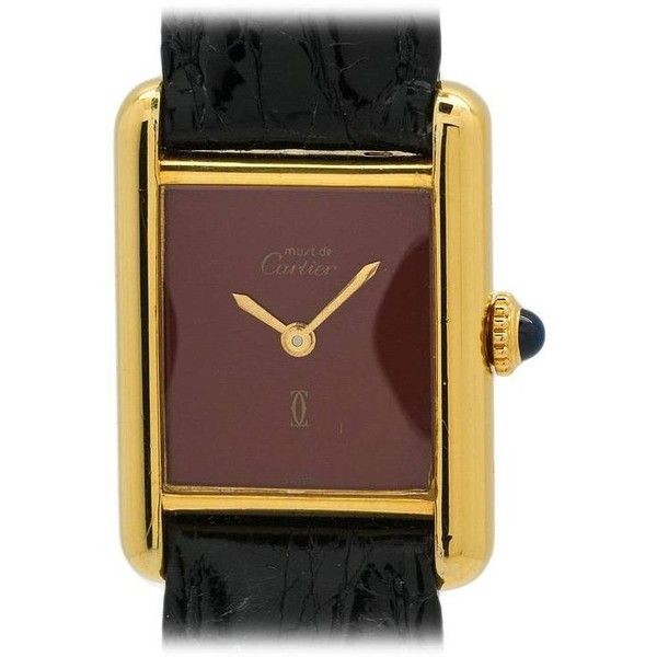 Preowned Cartier Lady's Vermeil Tank Louis Must De Cartier Quartz... ($1,450) ❤ liked on Polyvore featuring jewelry, watches, multiple, pre owned jewelry, quartz wrist watch, logo watches, cartier wrist watch e crown jewelry