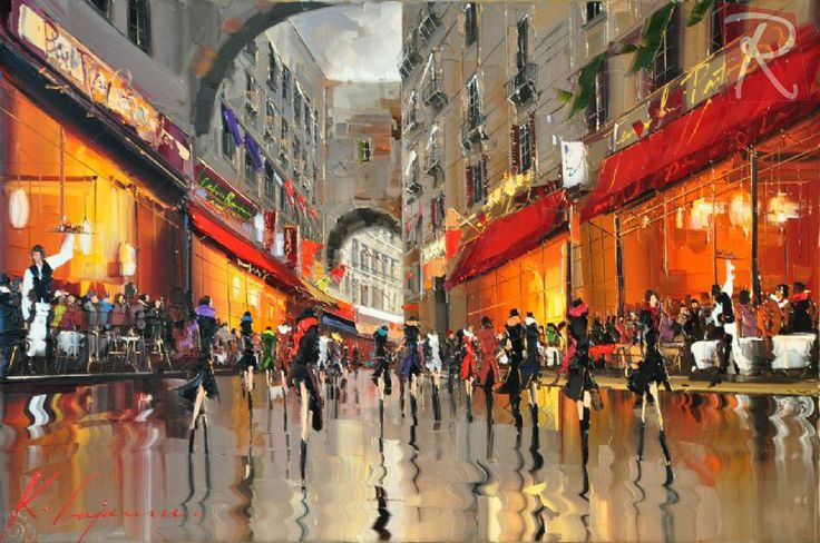Cafe Terraces, Old Town Barcelona - Art Gallery in St Albans/Harpenden, Hertfordshire - Gallery Rouge