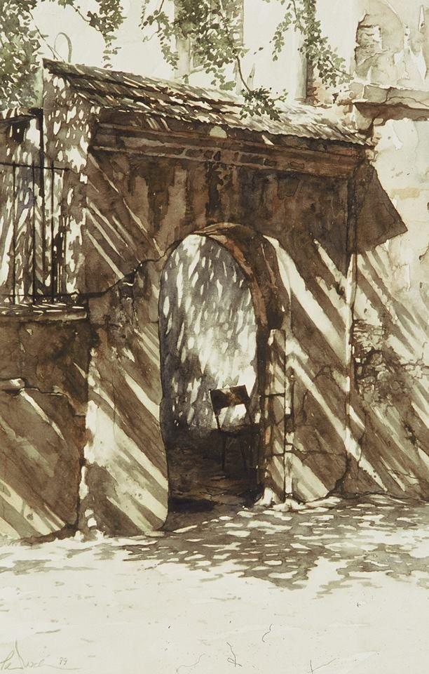 Paul Dmoch (Polish-Belgian, contemporary) - watercolor - gate - http://www.saatchiart.com/account/artworks/59544