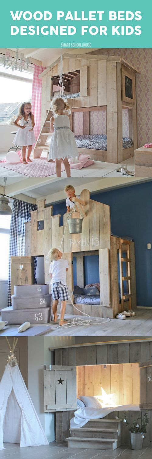 Here's a dreamy idea – transform your kids'  bedroom into a playful area with these wood pallet beds that double as a clubhouse and sleep space. Sleepovers and play dates will never be the same!