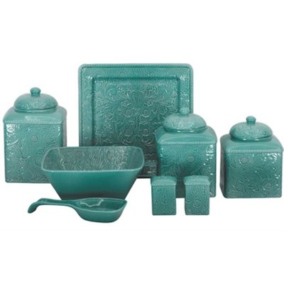 Savannah Canister Set features a detailed raised relief tooled leather design in a high gloss finish of turquoise to coordinate with your Western or Southwestern decor. It will be the highlight of your kitchen counter top to coordinate with your decor.  The easy care stoneware is dishwasher, oven and microwave safe.