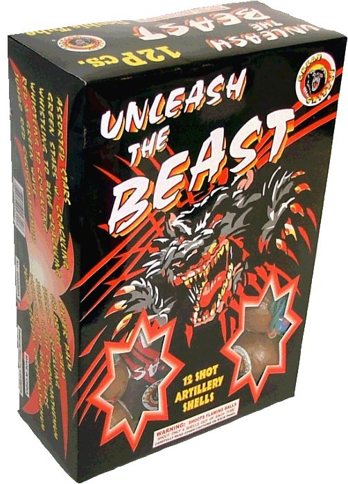 Unleash the Beast w/ Window - North Central Industries - www.greatgrizzly.com - MUNCIE INDIANA WHOLESALE FIREWORKS •Category: Premium Artillery Shell Kits •Item Number: 916 •Package Contents: 6-12 •Dimensions: 9 x 12 x 4 •Weight: 27lbs Brand Name: Great Grizzly DESCRIPTION: 12 balls with various effects!