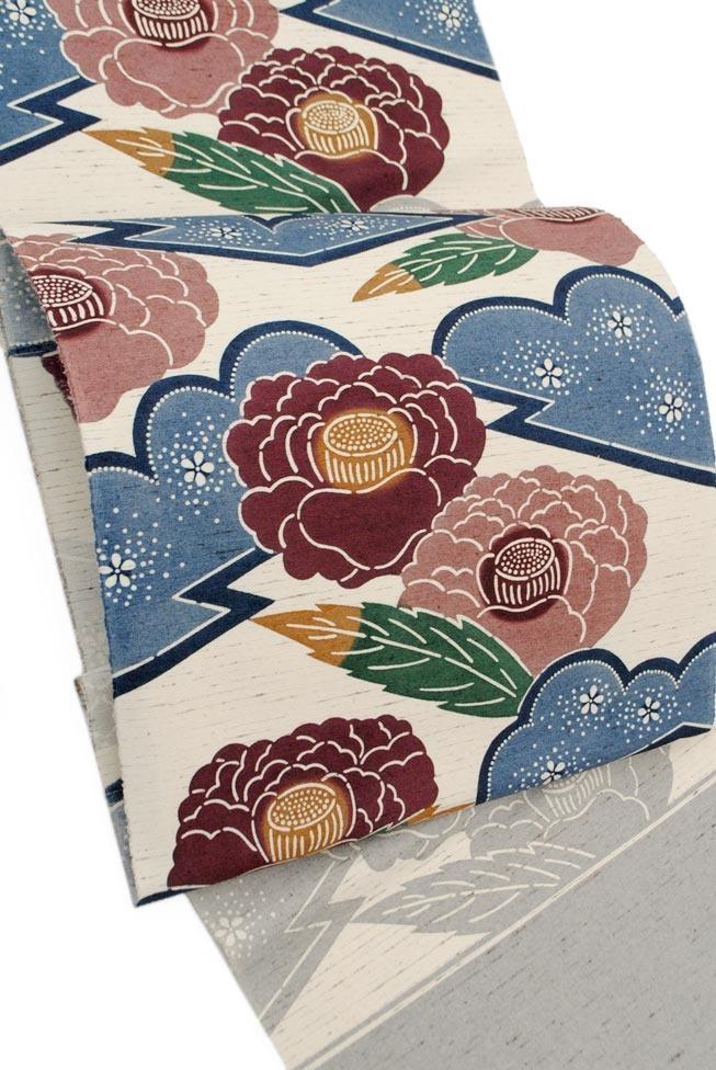 ≪栗山吉三郎・濱のぜんまい縮緬≫  創作正絹和染め紅型九寸名古屋帯  「大松皮牡丹」