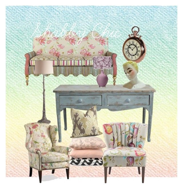 """Shabby Chic Living Room"" by ibuperi on Polyvore featuring interior, interiors, interior design, home, home decor, interior decorating, MacKenzie-Childs, Michael Aram, Remington and Kelly Wearstler"