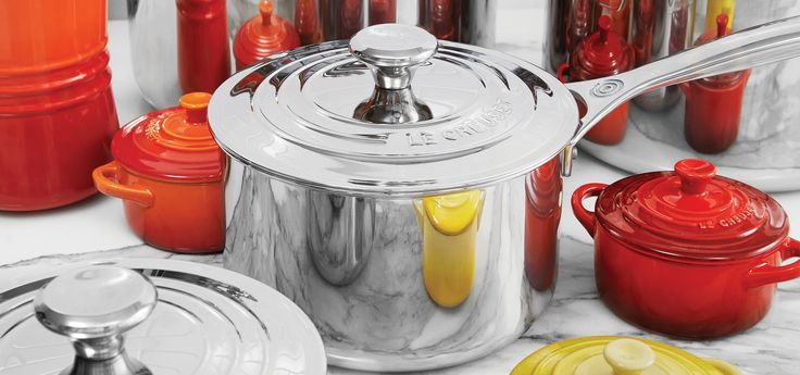 Le Creuset 3-Ply PLUS Stainless Steel Professional collection.
