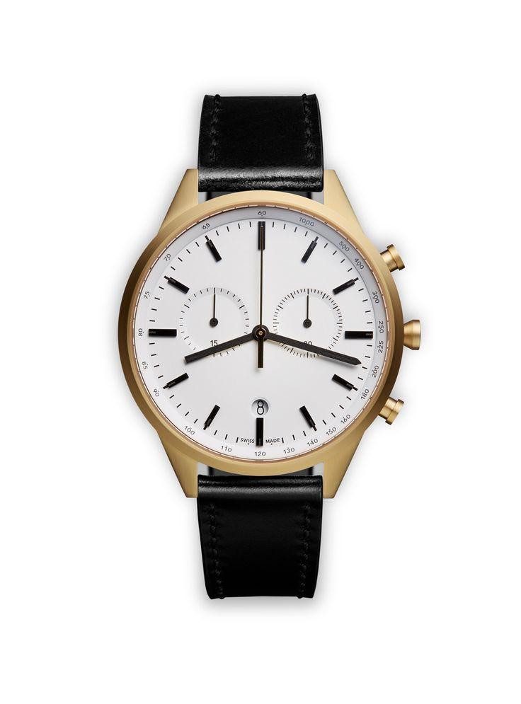 UNIFORM WARES Men's C41 Chronograph Watch in PVD Satin Gold
