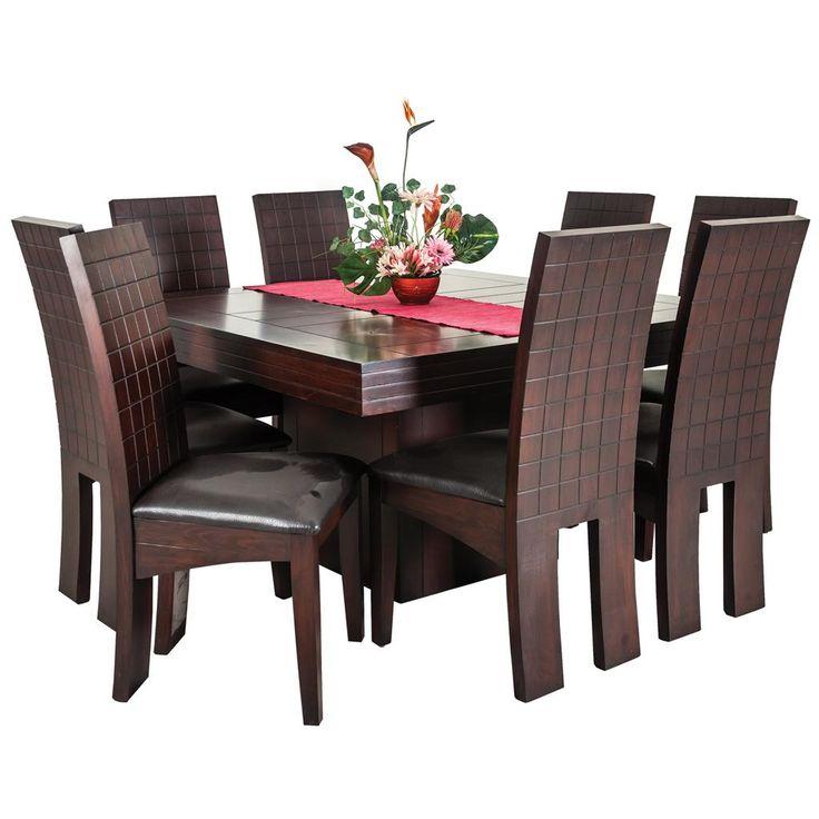 Comedor Milano 8 sillas color cherry mesa cuadrada - Famsa.com®