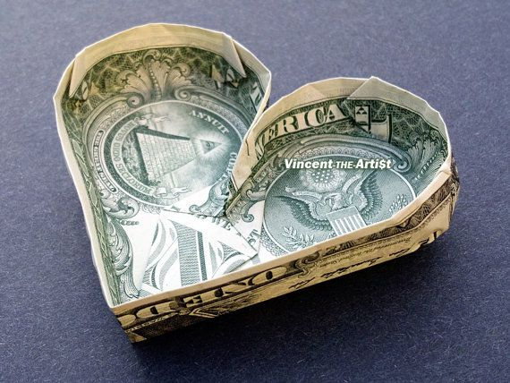 HEART SHAPED POOL Money Origami Dollar by VincentOrigamiArtist