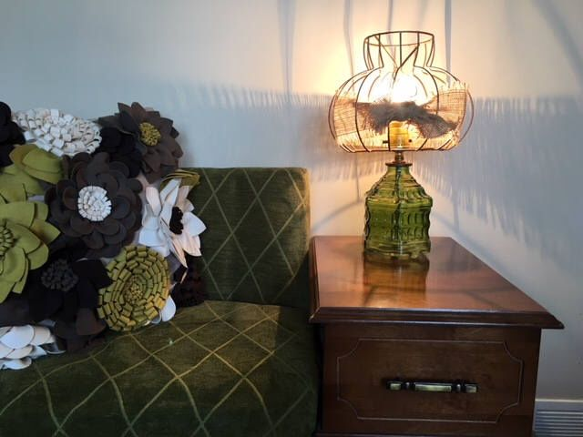 Excited to share the latest addition to my #etsy shop: Vintage Green Glass Table Lamp with Wire Cage/Burlap Shade
