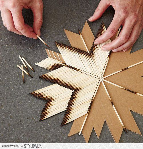 cardboard and burnt matches boho DIY, so easy and super cute wall decor!