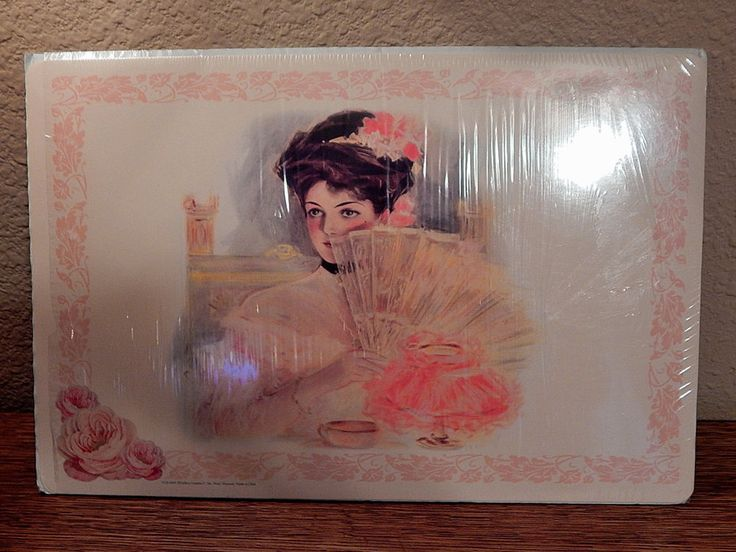 Victorian Placemats Set of Four  Coated Paper Pink Floral Woman Table Accessory