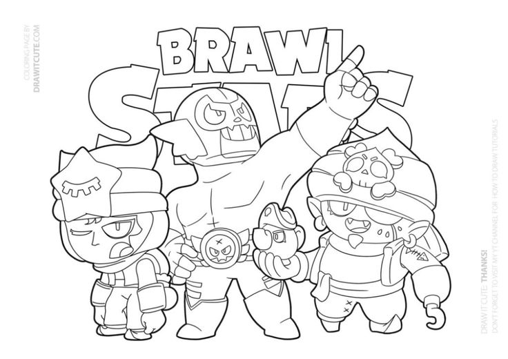 Pirate, Sandy and El Rudo | Brawl Stars coloring page ...