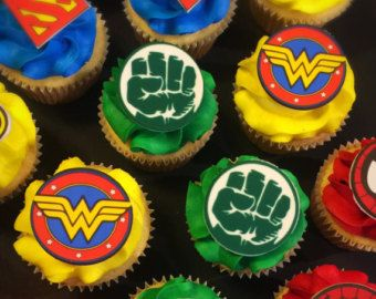 Die Cut Justice League Super Hero Cupcake Toppers  dc by BabyBinkz
