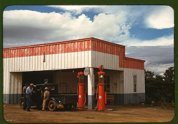 Rare Color Photos Of Main Street From The 1940sSmall Town, Libraries Of Congress, Garages, Russell Lee, Filling Stations, Concept Boards, 1940, New Mexico, Pies Town