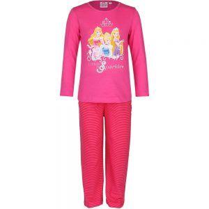 Disney kinderpyjama van CorazonKids Princessen I dream in Sparkles Roze. Deze kinderpyjama heeft roze met rood gestreepte broek voor de koude winter dagen. De trui heeft een ronde halslijn, lange mouwen en een grote print opdruk van prinsessen. De kinderpyjama van CorazonKids Princessen I dream in Sparkles Roze heeft een roze met rood gestreepte broek die is voorzien van een elastische tailleband.