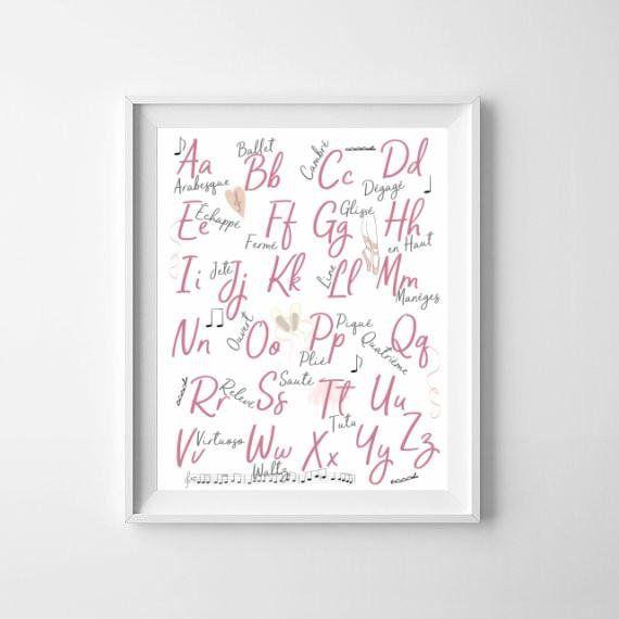 ABC Print, Ballet Girls Room, ABC Poster, Alphabet Girls Print, Upper and Lower Case Alphabet, Ballet Room Decor, Alphabet Nursery Wall Art