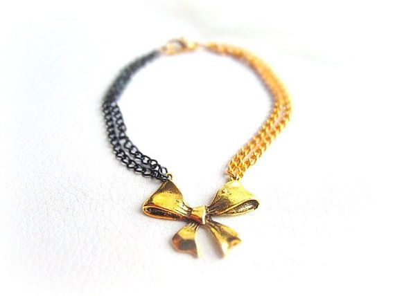Delicate gold bow chain bracelet black and by MalinaCapricciosa, $10.00