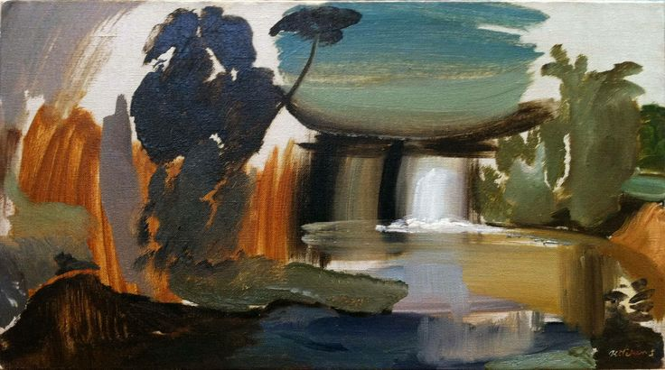 Waterfall, Terwick Mill, 1945 by IVON HITCHENS (English 1893-1979) Oil on canvas | signed | 16 x 29 inches (41 x 74 cm)