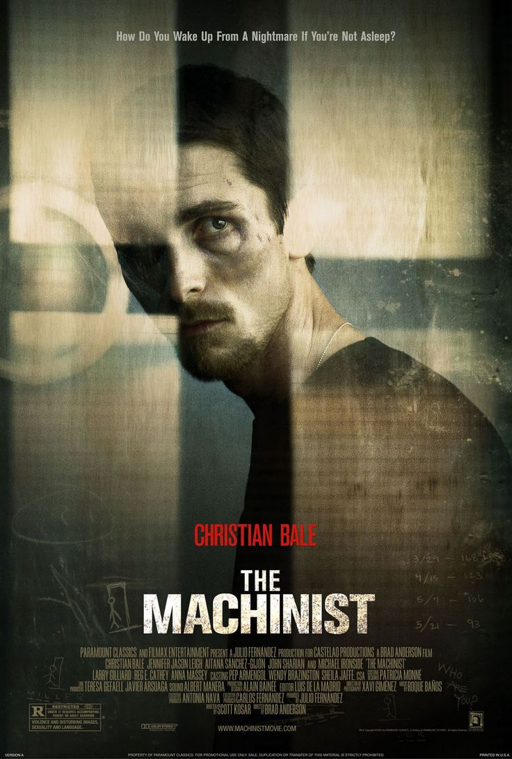 July 10, 2013 - It's a shame that this movie only gets paid attention to for the fact that Christian Bale lost the majority of his body weight for his role, because the movie itself is actually really good.  Intense, visceral, mind-bending.