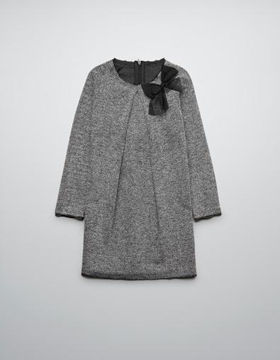 HERRINGBONE DRESS WITH APPLIQUÉ BOW - Dresses - Girl (2-14 years) - Kids - ZARA Canada $29.90