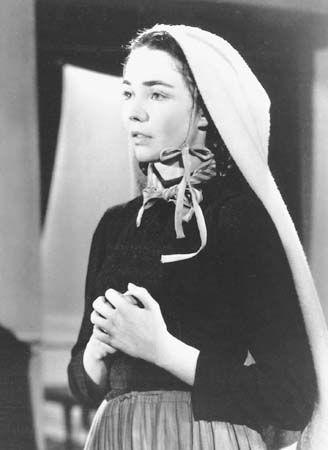 St Bernadette Soubirous | http://www.saintnook.com/saints/bernadettesoubirous | Photograph:Jennifer Jones dresses up for her role in the movie The Song of Bernadette (1943).