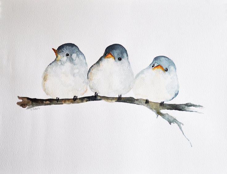 Trois oiseaux peinture aquarelle originale / art par ArtCornerShop