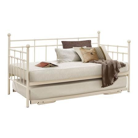 Lyon Single Metal Day Bed Frame with Trundle, Cream, Choose Set