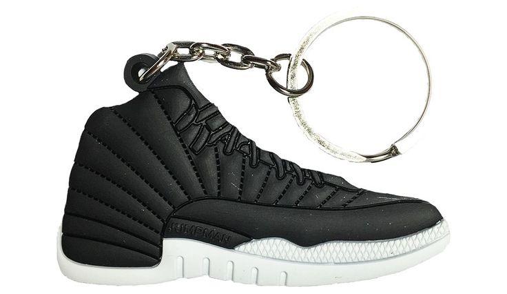Nike Jordan 12 XII Black White 2D Flat Keychain