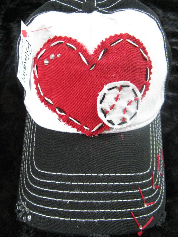 Baseball Love Patchwork and Crystal Baseball Cap by BlingirlSpirit, $26.95 they have ones for soccer too!!!