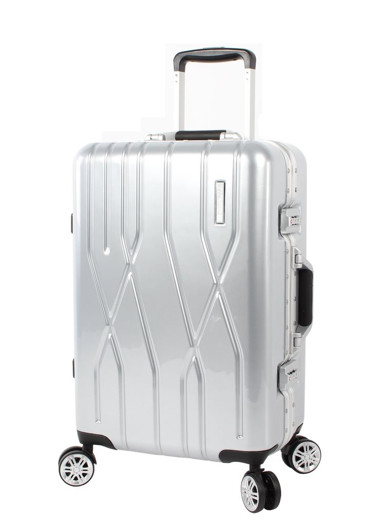 """Andiamo Luggage Aluminum Frame 20"""" Carry On Zipperless Suitcase With Spinner Wheels (20in, Silver)"""