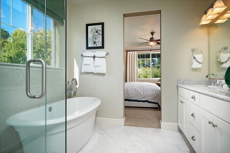 Glass shower enclosure and a freestanding tub! | Master bath in the Jessica model home | Royal Farms in Riverton, Utah | Richmond American Homes