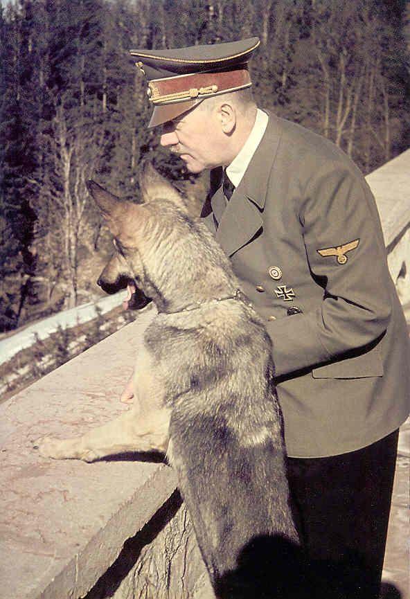 Adolf Hitler and his dog Blondi.